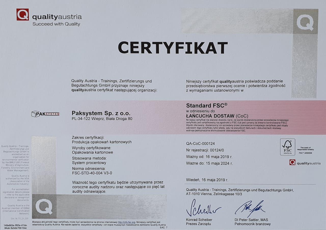 Skan certyfikatu dla pak-system świadczący o zgodności ze standardem FSC